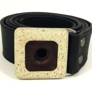 Opasek s přezkou ořech-beton, široký 4 cm