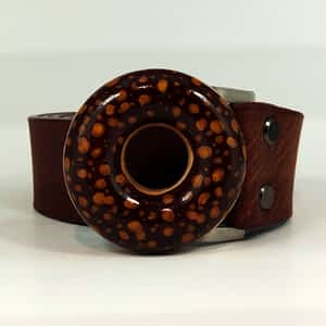 Dámský kožený pásek, široký 4 cm, hnědý
