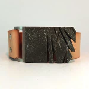 Pánský kožený pásek s přezkou z betonu, široký 4 cm, hnědý