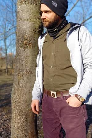 Streetwear pánský kožený pásek hnědý, širokký 4 cm, s přezkou ze dřeva a bílého betonu využití: pánské pásky a opasky, kožené pásky s přezkou FOP belts