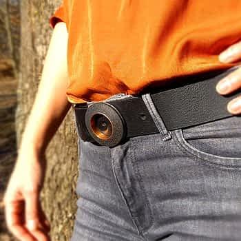 Dámský pásek široký 4 cm s kruhovou přezkou, černý